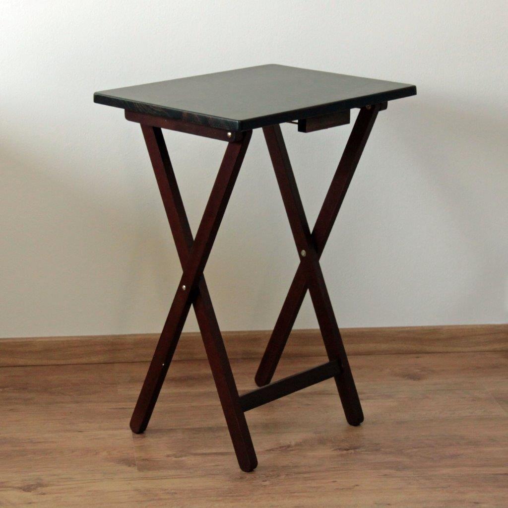 1855d2f7a Skladací stolík drevený, čiernohnedý SuperDiskont.SK