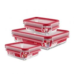 Sada 3 ks zapekacích mís s vekom Clip & Close Glass Emsa 514168