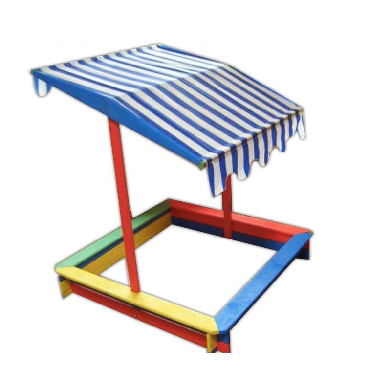 ROJAPLAST Detské farebné pieskovisko so strieškou 120x120cm